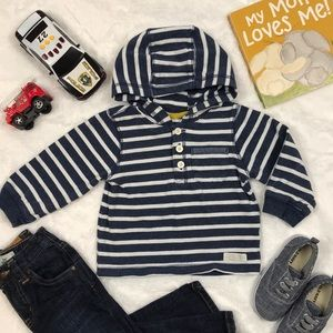 Navy and White Striped Hooded Tee